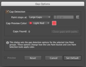 Gap options window
